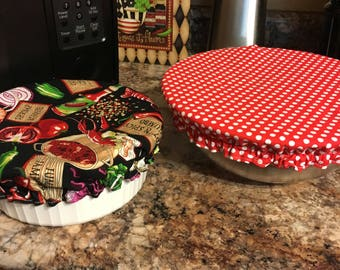 Fabric bowl covers reversible