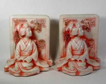 Japanese Kimono Lady Ceramic Art Pottery Bookends