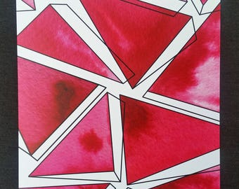 Geometric Watercolor Print - Red and Print Toppling Triangles