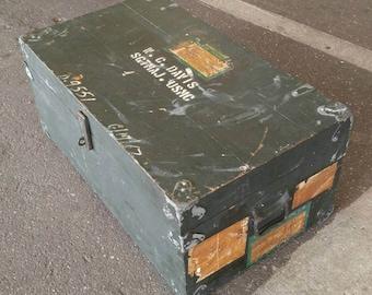 Old vintage military wooden soldier foot locker travel trunk 1960s Vietnam era USMC