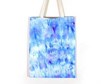 Blue Tote Bag - hand dyed tote bag, ice dyed tote bag, blue galaxy tote bag, blue and white cotton tote, market bag, shopping bag, beach bag