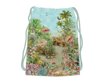 Michal Negrin, Drawstring Backpack, Shopping bag ,flower print, string backpack, pale blue bag, gym bag, fantsy world