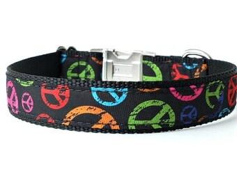 Peace Dog Collar, Peace Sign, Peace Symbol, Hippie Dog Collar, Black Dog Collar, Zen Dog