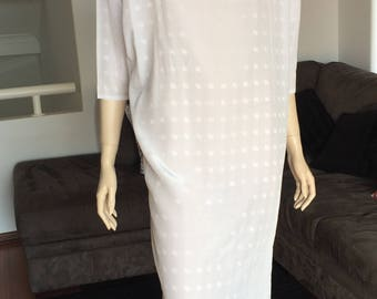 80s White Checkered Shift Dress