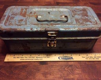 Vintage Rusty Gold! - Blue Tackle Box - Storage Box