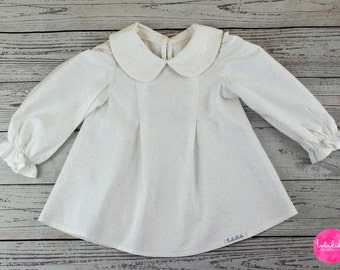 Baby girl blouse tunic star collar outfit baptism toddler pink pastel blouse Peter Pan collar blouse