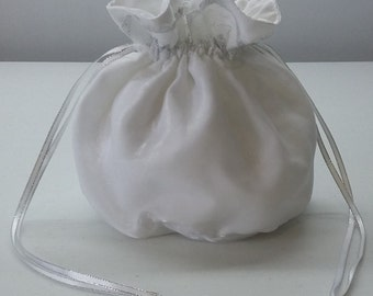 White Organza Dilly Bag with Silver Trimmed Lace