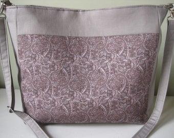Handbag Purse Crossbody Purple/Gray Paisley Fabric Handmade Bag Women's Accessories