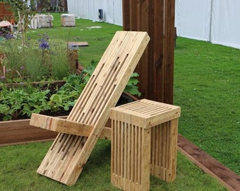 Sculptural Garden / Patio Chair made from reclaimed pallet wood.