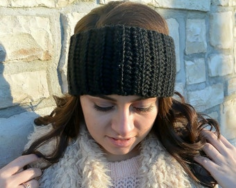 Black Crochet Ear Warmer Headband - Ear Warmer Headband - Crochet Ribbed Ear Warmer - Gift for Her - Winter Accessories - Ribbed Headband