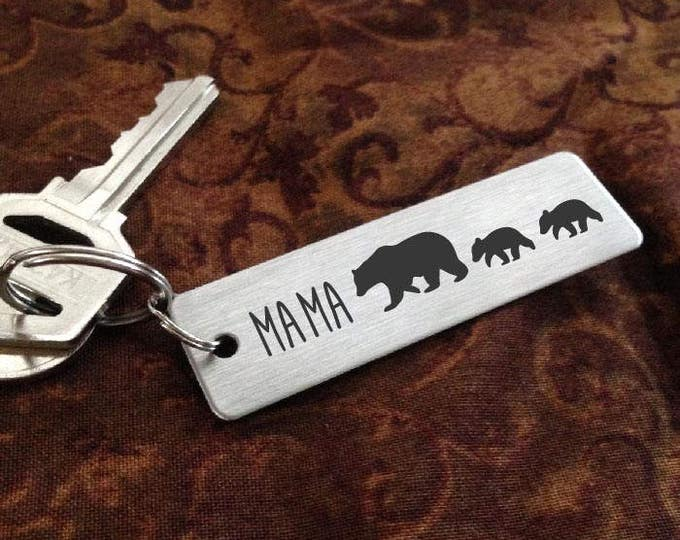 MAMA Bear Key chain  + Baby Cubs  -  Laser Engraved - Brushed Stainless Steel Gift- Perfect Gift for Mom  - Mother's Day