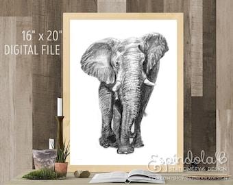 "16"" x 20"" Digital Art Print | Elephant Illustration"