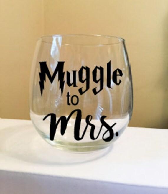 Muggle to Mrs. Stemless Wine Glass