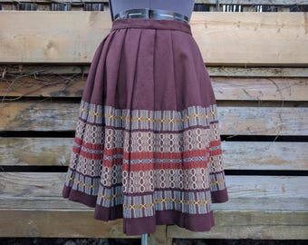 Vintage 40s or 1950's Knee Length Pleated Brown Embroidered Wool Skirt
