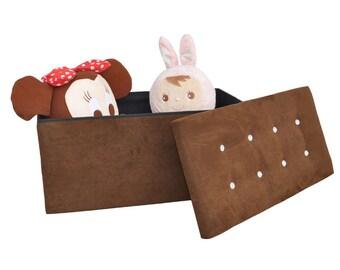 Large Faux Leather Ottoman Storage Box Pouffe Storage Ottoman