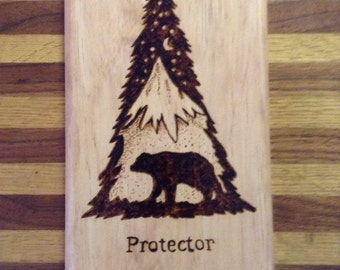 Protector of Our Den Wood Burned Wall Hanging.