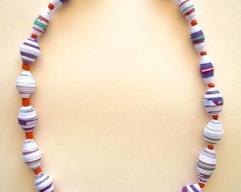 Magazine paper Collar, Recycled paper Coller, Paper necklace, Ceramic and beads beads, White and Orange