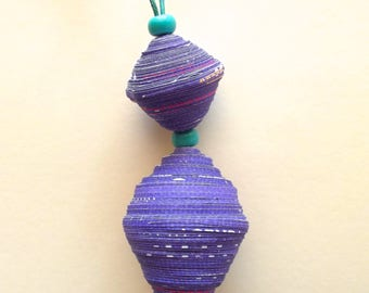 Necklace Violet and many of Green glass, necklace of recycled paper, Necklace of many glass.