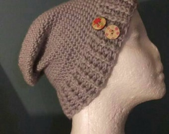 Two Button Child's Slouchy Hat