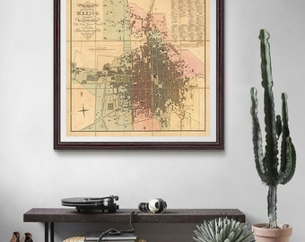 Mexico City Old Map 1811, Mexico Map Print, Antique Mexico Map, Mexico Vintage Map, Vintage Map- CP048