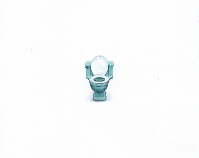 """Print of miniature painting of a Vintage Toilet. 1 1/4""""x1 1/4"""" print of original Toilet painting on 5"""" square german etching paper"""