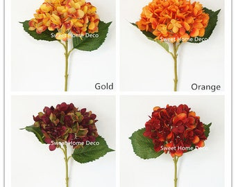 JennysFlowerShop 18'' Silk Hydrangea Single Stem Autumn Colors, no Pot Inclued