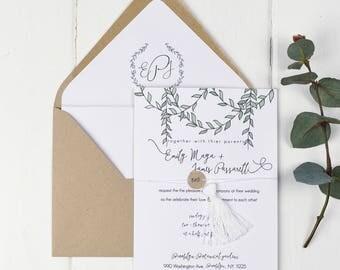 Greenery Wedding Invitation, Wedding Invitation Greenery, Rustic Elegance Wedding Invitation, Boho Invitation, Green Invite, Vines Invite