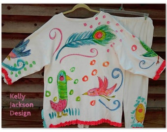 Silly Birds Two Piece Set Handpainted Knit Made to Order KellyJacksonDesign