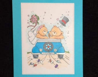 Just Married Bears Wedding card