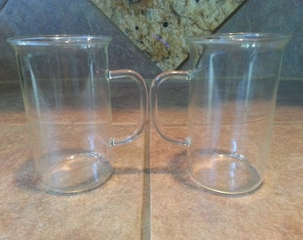 Set of 2 German Feuerfest Saale-glas Cappuccino Espresso Glass Coffee Cups GDR, Perfect Condition, Very Unique Looking
