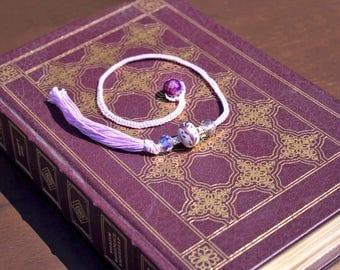 Crochet purple beaded bookmark