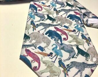 Liberty of London Mens Handmade Neck Tie, Classic Size, Liberty Novelty Zoo Animal Print. Wedding, Party, Suit Tie. Dapper Gentleman Style
