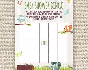 Woodland Creatures Baby Shower Bingo