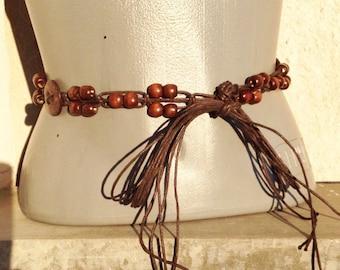 Vintage Belt of Wooden Beads and Leather Threads, Hippie Belt, Retro Lady Belt, Boho Belt Hippie belt, beach belt