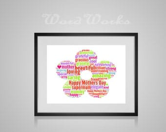 "Personalised Flower Word Art  **Buy 3 prints get the 4th FREE**  Use coupon code "" MYFREEONE """