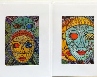 Fine Art Greeting Cards Set of Two: 'Leah and Rachel' and 'Triology of Tears'