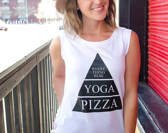 Yoga Pizza Everything Else Pyramid Ladies Muscle Tank
