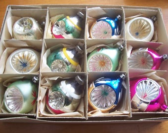 One Dozen Assorted Poland Indents Teardrop/Shiny Brite Christmas Ornaments