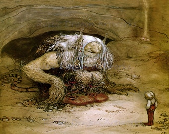 """John Bauer """"The Boy Who Was Never Afraid"""" 1912 Reproduction Digital Print Young Boy Troll in Cave Fantasy Fairy Tale Bravery Courage"""