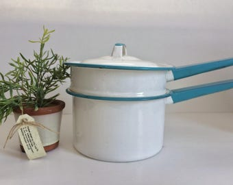 Vintage Teal Enamel Double Boiler...White. Teal. Lid. Kitchen. Retro. Kitschy.