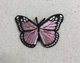 Small - Butterfly - Pink/Black - Iron on Applique - Embroidered Patch - AP-511768-C02