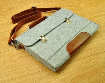 Felt laptop bag,laptop messenger,MacBook bag,laptop bag for men,new MacBook Pro,felt Briefcase Macbook Bag with Handle for 15 Macbook-TFL152