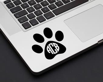 Dog Pawprint Monogram Decal -  Vinyl Decal, Laptop Decal, Car Sticker