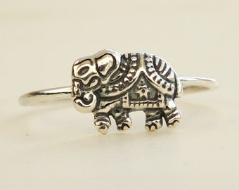 Sterling Silver Ring, Silver Elephant Ring, Silver Animal Ring, Oxidized Silver Ring, Silver Band Ring