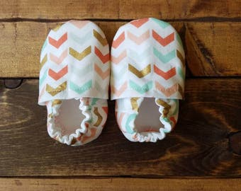 0-6 month coral, mint, gold chevron fabric baby shoes, infant fabric moccasins, baby booties.