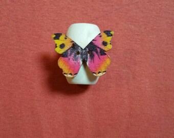Wooden pink orange butterfly dreadlock bead