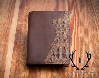Leather Bible Cover, Genuine Leather Crocodile Embossed Bible Cover, Handmade Leather Cover, Leather Book,Custom Leather Book Bible Cover#10