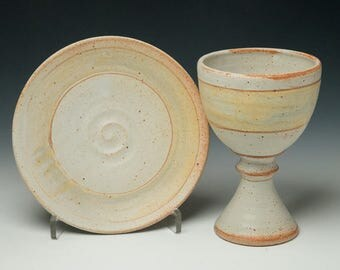 simple pottery chalice and paten set ,simple communionware, ceramic chalice