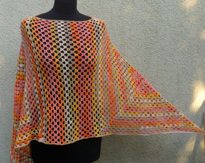 Granny square Poncho, Loose crochet poncho, Multi Sparkle Orange Yelow Pink poncho, Spring crochet clothing, Women's poncho, Beach cover up