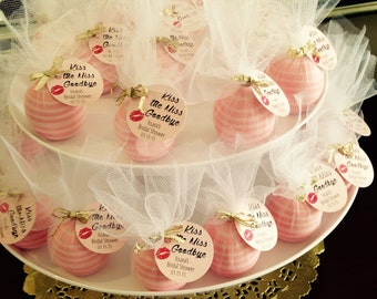 Kiss the Miss Goodbye Favor Tags - Bridal Shower - Custom - Lip Balm Tag - 24 pieces
